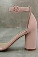 Elettra Blush Nubuck Ankle Strap Heels 7