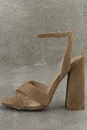 Adalene Taupe Suede Ankle Strap Heels 1