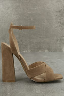Adalene Taupe Suede Ankle Strap Heels 3