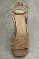 Adalene Taupe Suede Ankle Strap Heels 4