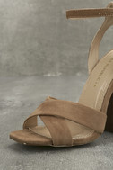 Adalene Taupe Suede Ankle Strap Heels 5