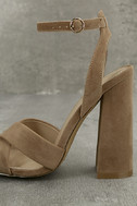 Adalene Taupe Suede Ankle Strap Heels 6