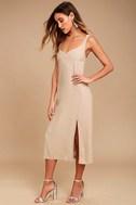 Kaliska Light Taupe Midi Dress 2