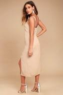Kaliska Light Taupe Midi Dress 3