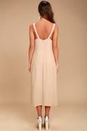 Kaliska Light Taupe Midi Dress 4