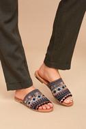 Kamala Black Embroidered Slide Sandals 2