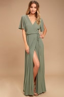 Much Obliged Washed Olive Green Wrap Maxi Dress 1
