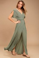 Much Obliged Washed Olive Green Wrap Maxi Dress 2