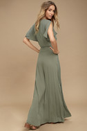 Much Obliged Washed Olive Green Wrap Maxi Dress 3