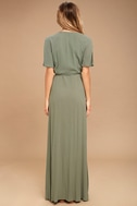 Much Obliged Washed Olive Green Wrap Maxi Dress 4