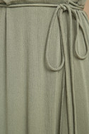 Much Obliged Washed Olive Green Wrap Maxi Dress 6