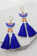 Shashi Delaney Blue Tassel Earrings 2
