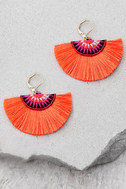 Shashi Shannon Coral Orange Earrings 1
