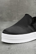 Magara Black Satin Flatform Slip-On Sneakers 5