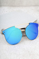 Now or Never Gold and Green Mirrored Sunglasses 1
