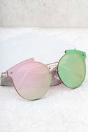 Now or Never Gold and Pink Mirrored Sunglasses 1