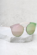Now or Never Gold and Pink Mirrored Sunglasses 2