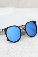 Out of This World Black and Blue Mirrored Sunglasses 1