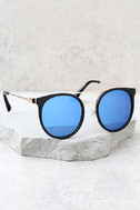 Out of This World Black and Blue Mirrored Sunglasses 2
