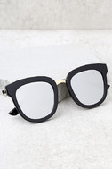 Revelry Black and Silver Mirrored Sunglasses 1