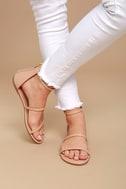 Lorelei Nude Ankle Strap Flat Sandals 2