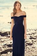 Dress to Impress Navy Blue Lace Off-the-Shoulder Maxi Dress 2