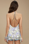 Magic Garden White Floral Print Lace-Up Top 3