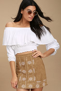 Ornamental Tan Embroidered Suede Mini Skirt 1