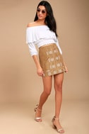 Ornamental Tan Embroidered Suede Mini Skirt 2