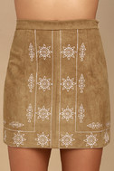Ornamental Tan Embroidered Suede Mini Skirt 3