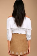Ornamental Tan Embroidered Suede Mini Skirt 4