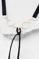Every Beat of My Heart Black and Gold Choker Necklace 2