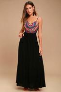 Ascension Island Black Embroidered Maxi Dress 1