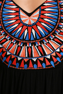 Ascension Island Black Embroidered Maxi Dress 6