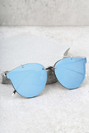 Super Powers Silver and Blue Mirrored Sunglasses 1