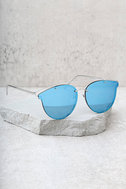 Super Powers Silver and Blue Mirrored Sunglasses 2