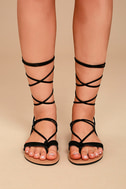Theola Black Suede Lace-Up Sandals 2