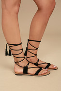 Theola Black Suede Lace-Up Sandals 3