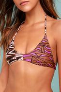 Amuse Society Nikoh Brown Print Bikini Top