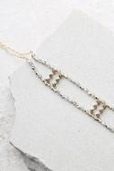 Oceana Gold and Grey Beaded Choker Necklace 1