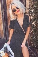 Gimme Your Love Black Polka Dot Wrap Dress 7