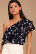Life's Grand Navy Blue Floral Print One Shoulder Top 1