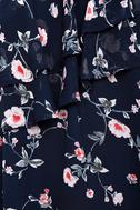 Life's Grand Navy Blue Floral Print One Shoulder Top 4
