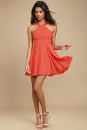 Forevermore Coral Red Skater Dress 2