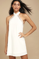Any Sway, Shape, or Form White Lace Halter Dress 2
