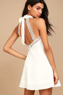 Any Sway, Shape, or Form White Lace Halter Dress 1