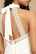 Any Sway, Shape, or Form White Lace Halter Dress 4