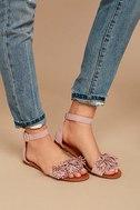 Jocasa Blush Suede Fringe Flat Sandals 2