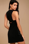 Streamlined Style Black Cutout Dress 1