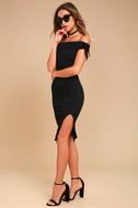 Never Enough Black Off-the-Shoulder Bodycon Midi Dress 2